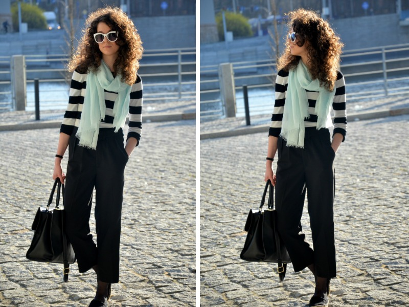 Nivea fresh look, nivea, black and white, spodnie na kant, wiosna, białe okulary