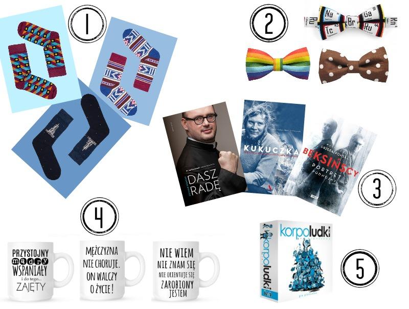 prezenty, upominki, podarki, skarpetki, Kabak, kolorowe muszki, krawat, śmieszny kubek, książka, gra planszowa