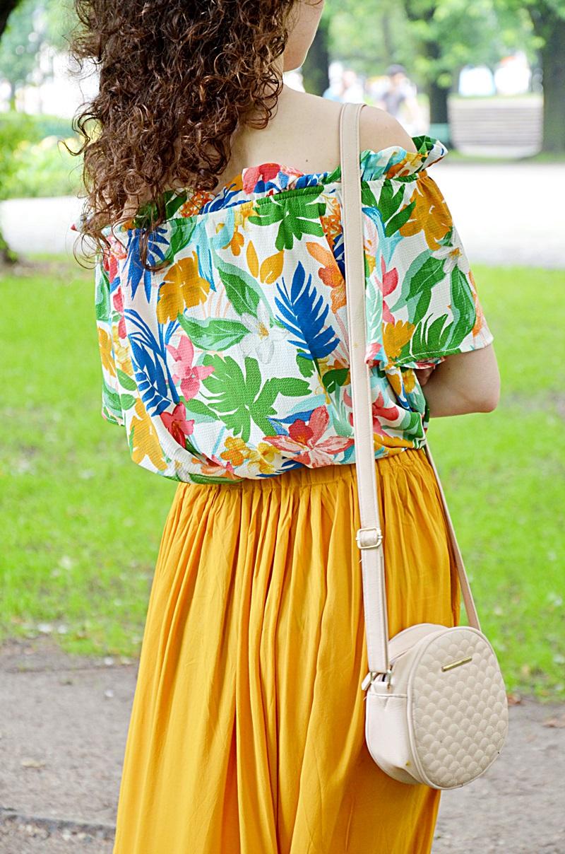 długa spódnica, SH, outfit, zakreecona, blog, blogerka, Łódź, bluzka hiszpanka