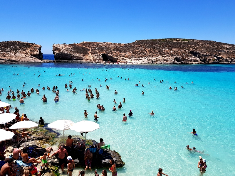 Comino, St. Maria Bay, meduzy, zakreecona, błękitna woda, Malta, wakacje, plaże na Malcie, Blue Lagune