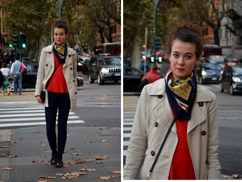 sweter z baskinką, trencz, Wlochy, Rzym, stylizacja, apaszka, jesień